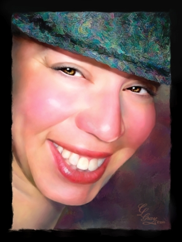 A portrait of Mellanie Collins by artist Cindy Gray