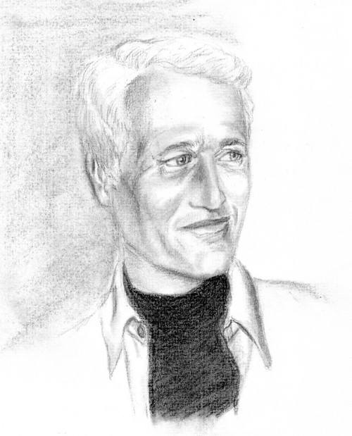 charcoal drawing of actor Paul Newman