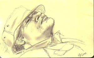 sketch of man relaxing
