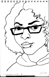 simple line drawing of Mellanie Collins