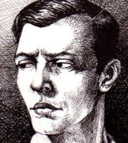"drawing of a young Buster Keaton by Mellanie Collins 2.5"" X 3.5"" ink"