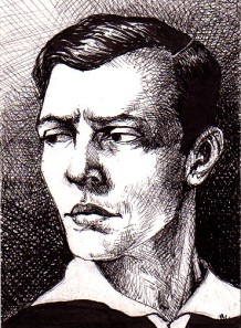 "drawing of a young Buster Keaton.   2.5"" X 3.5"" ink"