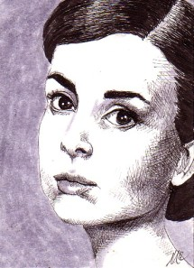 Audrey Portrait - cross-hatching portrait