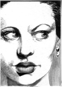 portrait-drawing-of-woman-noir-style-by-Mellanie-Collins
