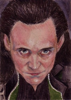 "Loki for Theresa 2.5""x3.5"" ink and markers on brown paper"
