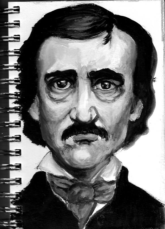 Acrylic portrait of edgar allan poe