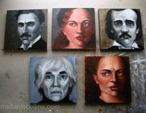 "Five 8"" x 8"" acrylic portrait paintings by Mellanie Collins"