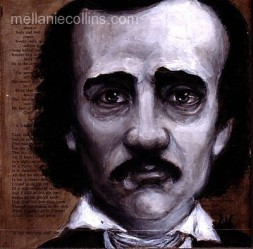 acrylic portrait of Edgar Allan Poe by Mellanie Collins
