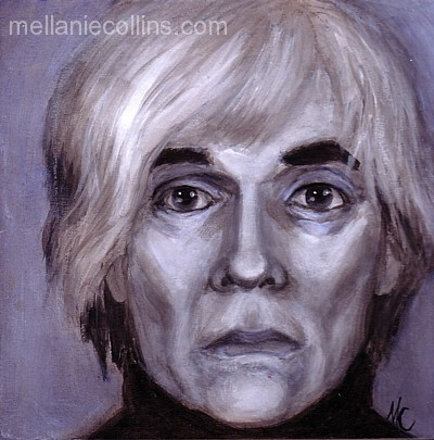 Mellanie Collins, Andy Warhol, acrylic on board, 8X8 inches