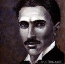 acrylic portrait of Nikola Tesla by Mellanie Collins
