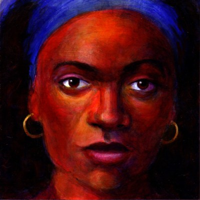 "Girl with Blue Headband 8"" x 8"" acrylic on board"