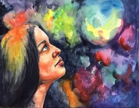 "New insight, watercolor, 9X12"""